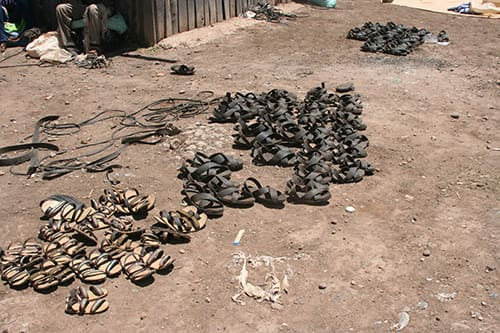 This photo shows shoes made from old car tyres in the Maasai Market in Nyeri.