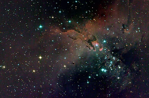 The Eagle Nebula (M16) as seen by the SuperBIT telescope, while hanging from a stratospheric balloon at about 35 km altitude. The image combines 6 exposures from SuperBIT's test flight, taken with different colour filters over about 10 minutes.